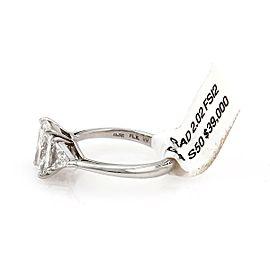 Diamond Solitaire w/Trilions 2.02ct F-SI2 Radiant Platinum Engagement Ring GIA