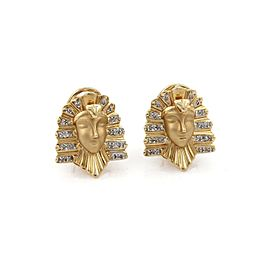 Vintage Diamond 14k Two Tone Gold Egyptian Cleopatra Post Clip Earrings