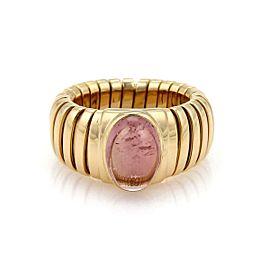 Bulgari Bulgari 3.5ct Pink Tourmaline 18k Yellow Gold Tubogas Band Ring Size 5.5