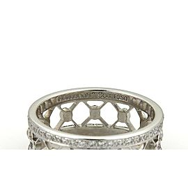 Tiffany & Co. VOILE Diamond Platinum 8mm Wide Fancy Band Ring Size 5
