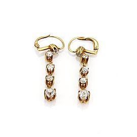 Victorian 1.90ct Old Mine Cut Diamond 18k YGold Graduated Dangle Earrings
