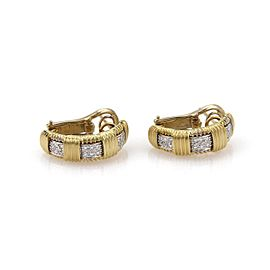 Roberto Coin Appassionata Diamond 18k Yellow Gold Curved Hoop Earrings