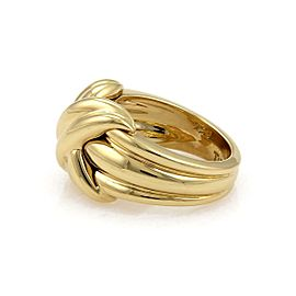 Tiffany & Co. 18k Yellow Gold X Crossover Grooved Ring Size - 5