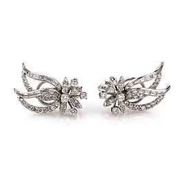 Platinum 5ctw Diamond Leaves & Flower Post Clip Earrings