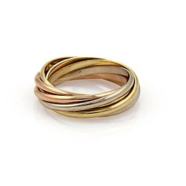 Cartier Trinity 18k Tricolor Gold 1.5mm 7 Rolling Band Ring Size 52-US 6