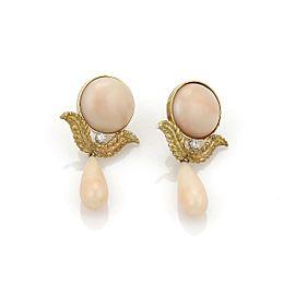 Estate Diamond 18k Yellow Gold Angel Skin Coral Fancy Drop Dangle Earrings