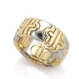 Bvlgari Bulgari Parentesi 8mm Flex Open Band Ring 18k Gold Steel Size 5