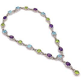 Estate 56.37ct Diamond Multicolor Gems 14k White Gold Fancy Necklace