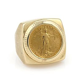 Vintage 22k Liberty Coin 14k Yellow Gold Square Top Ring Size 9