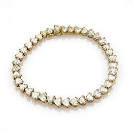 Estate 12 Carats Heart Shape Diamonds 18k Yellow Gold Tennis Bracelet