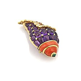 Estate 2.50ct Diamond Coral & Multicolor Gems 18k YGold Large Conch Shell Brooch