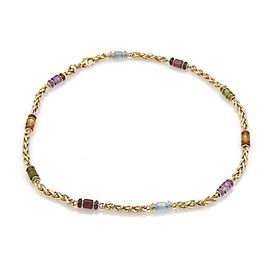Bulgari Bulgari Multi-Color Gemstone 18k Yellow Gold Woven Chain Necklace