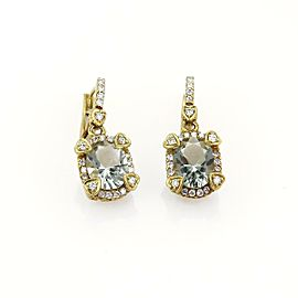 Judith Ripka Diamond & Green Amethyst 18k Yellow Gold Dangle Earrings