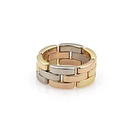 Cartier Maillon Panthere 18k Tricolor 8mm Wide Band Ring Size 5.75