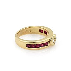 Tiffany & Co. 1.04ct Ruby Diamond 18k Yellow Gold Heart Band Ring Size - 5