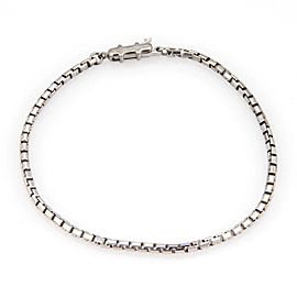 Cartier 18k White Gold 2mm Box Link Chain Bracelet