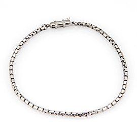 Cartier 18k White Gold 2mm Box Link Chain Bracelet