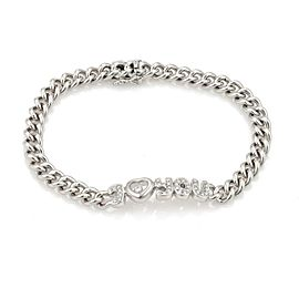 "Chopard Happy Diamond ""I Love You"" 18k White Gold Curb Link Chain Bracelet"