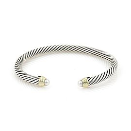 David Yurman Pearls Sterling 14k Yellow Gold Cable Cuff Bracelet
