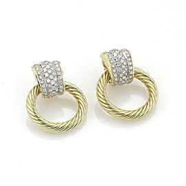 David Yurman 4 carats Diamond 18k YGold Cable Circle Door Knocker Earrings