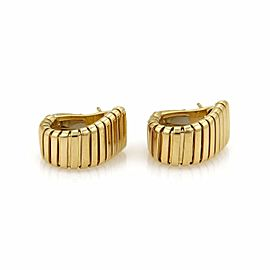 Bulgari Bulgari 18k Yellow Gold Tubogas Wide Curved Huggie Earrings