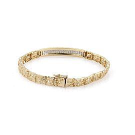 Vintage Diamond 14k Yellow & White Gold Nugget ID Bar Flex Link Bracelet