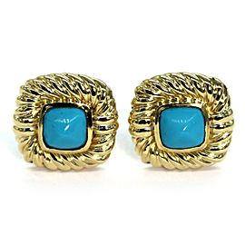 David Yurman Turquoise 18k Yellow Gold Square Cable Post Clip Earrings