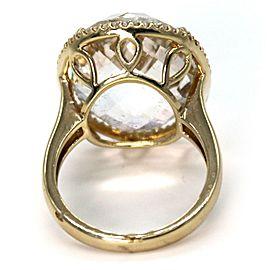Vintage 33.25ct White Topaz & Diamond 14k Yellow Gold Bracelet & Ring Set