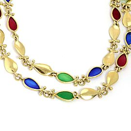 Vintage 18k Yellow Gold Multicolor Enamel Tear Shape Links Long Necklace