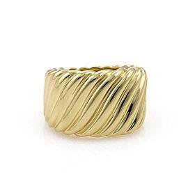 David Yurman 18k Yellow Gold Wide Cigar Band Cable Ring Size 5.5