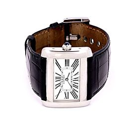 Cartier Tank Divan Stainless Steel Leather Band Quartz Wrist Watch