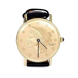 Jules Jurjensen Men's 14k Gold Coin Hand Wind Leather Band Wrist Watch