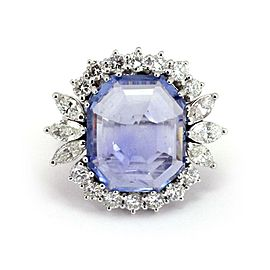 Estate 23.60ct Diamond & Sapphire 18k White Gold Large Cocktail Ring Size 9
