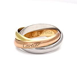 Cartier Trinity 18k Tricolor Gold 3.5mm Rolling Band Ring Size 7.5