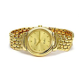 Rolex Cellini 18k Yellow Gold Ladies Wrist Watch Quartz 6621 w/Box