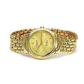 Rolex Cellini 18k Yellow Gold Ladies Wrist Watch Quartz 6621 w/Box