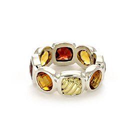 David Yurman Garnet Citrine Sterling 18k Gold Eternity Band Ring Size 6