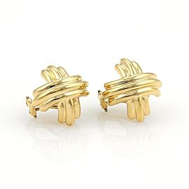 Tiffany & Co. 18k Yellow Gold 15.5mm X Crossover Post Clip Earrings