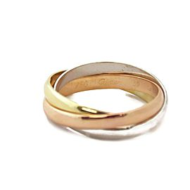 Cartier Trinity 18k Tricolor Gold 3mm Rolling Band Ring Size 59-US 9