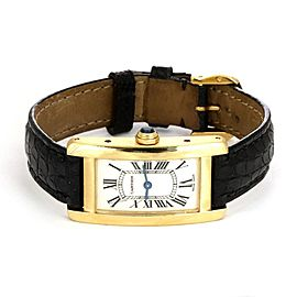 Cartier Tank Americaine 18k Yellow Gold Leather Band Ladies Wrist Watch 2482