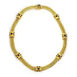 Estate 4 Carats Ruby Sapphire 18k Gold 8 Station Weave Link Fancy Bracelet