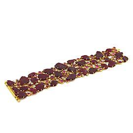 Estate 102 Carats Ruby & Diamond 18k YGold Leaf Design Wide Flex Bracelet
