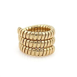 Bvlgari Bulgari Tubogas 18k Yellow Gold Wide Wrap Band Ring Size 7
