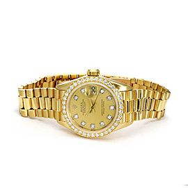 Rolex Vintage Oyster Date Just President Diamond 18k Gold Ladies Watch 6917
