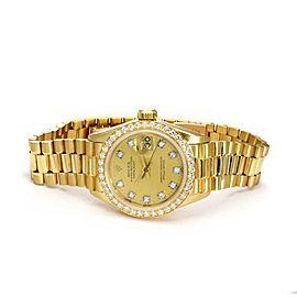Rolex Vintage Oyster Date Just President Diamond 18k Gold Ladies Watch 6917