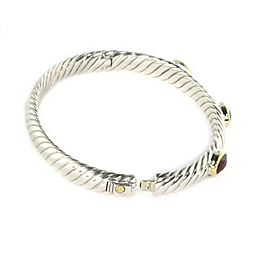 David Yurman 3 Stone Garnet Sterling & 18k Yellow Gold Bangle Bracelet