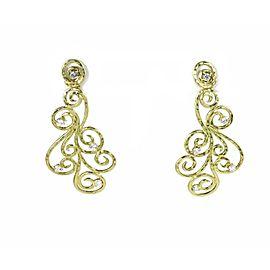 Sal Paschnik Diamond 18k Yellow Gold Scroll Design Long Dangle Earrings