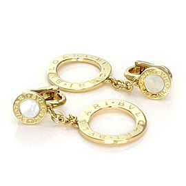 Bulgari Bulgari Signature Mother of Pearl 18k Gold Circle Dangle Earrings