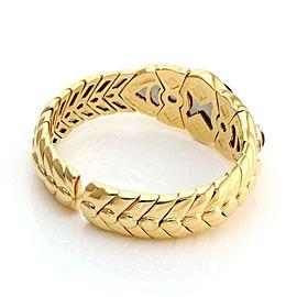 Estate Sapphire Ruby Emerald & Diamond 18k Yellow Gold Fancy Cuff Bracelet