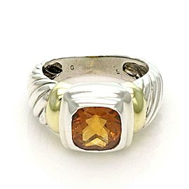 David Yurman Citrine Sterling 14k Yellow Gold Cable Band Ring Size 5.5